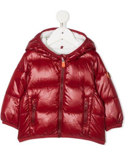 Нейлоновое красное пальто классическое с капюшоном Save The Duck Kids
