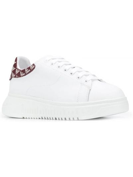 Ажурные белые кожаные кроссовки на шнуровке на каблуке Emporio Armani
