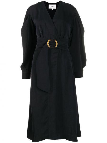 Черное платье с запахом на пуговицах с V-образным вырезом Ba&sh