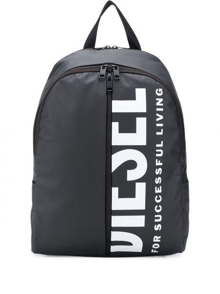 Черный рюкзак на молнии с карманами Diesel