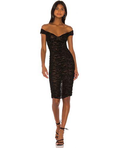 Czarny sukienka midi z falbankami rozciągać z kubkami Majorelle