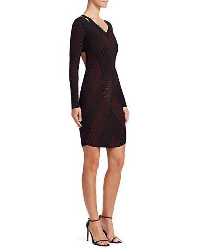 Черное платье мини с длинными рукавами с люрексом Roberto Cavalli