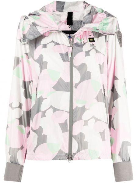 Прямая розовая облегченная длинная куртка с рисунком Blauer