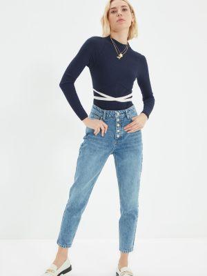 Mom jeans bawełniane - niebieskie Trendyol