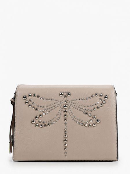 Бежевая кожаная сумка с перьями из натуральной кожи Eleganzza