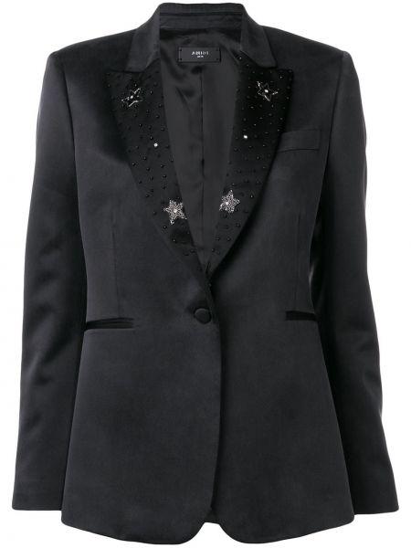 Приталенная классическая черная куртка с лацканами Amiri
