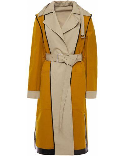 Бежевое кожаное пальто двубортное Proenza Schouler