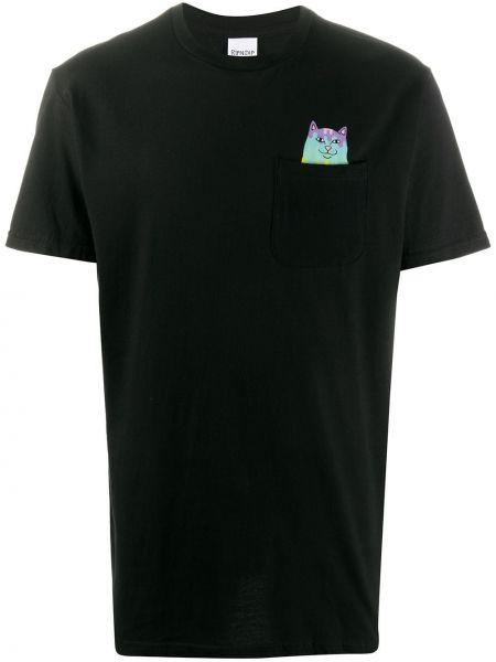 Bawełna prosto czarny koszula krótkie z krótkim rękawem z kieszeniami Ripndip