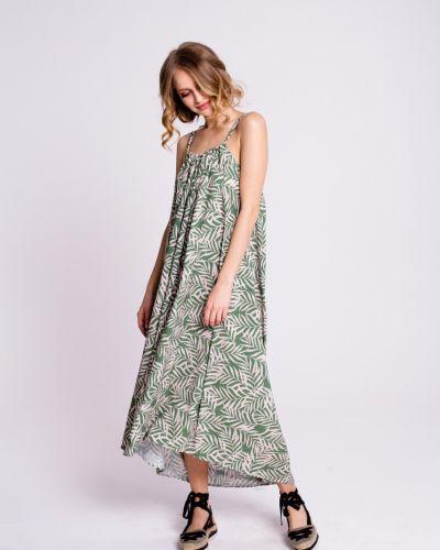 Оливковое свободное платье миди свободного кроя Naoko