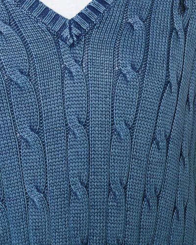 Вязаный свитер в рубчик с V-образным вырезом Polo Ralph Lauren