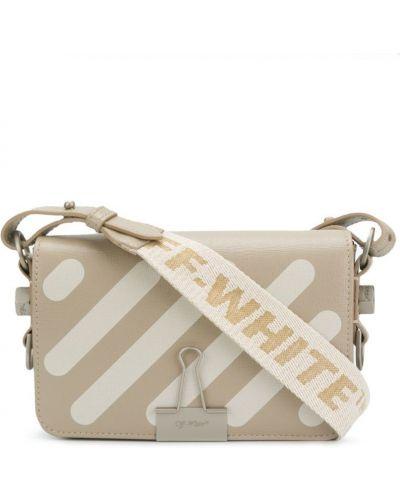 Кожаный сумка в полоску на плечо Off-white