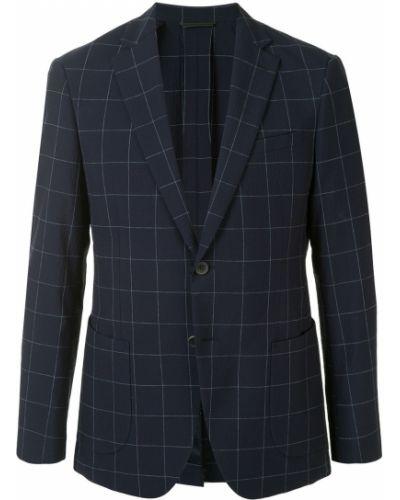 Синий однобортный пиджак с карманами на пуговицах D'urban
