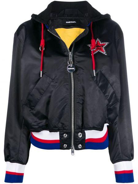 Куртка с капюшоном черная на молнии Diesel