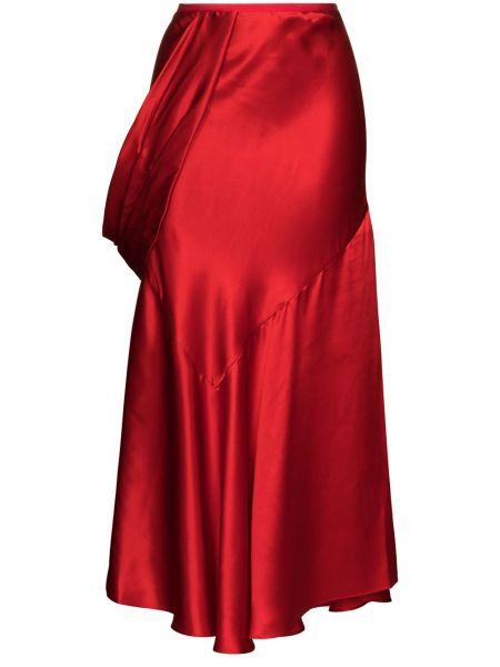 Красная шелковая с завышенной талией юбка миди с драпировкой Simone Rocha