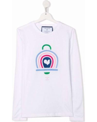 Biała T-shirt z nadrukiem bawełniana Simonetta