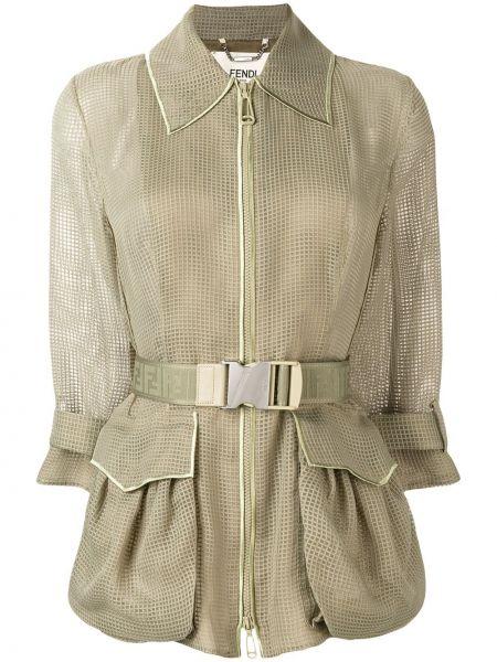 Зеленый шелковый пиджак с поясом Fendi