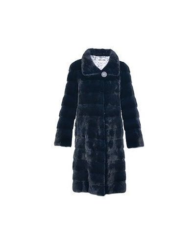 Норковое синее пальто с мехом Bellini