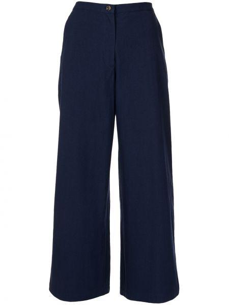Niebieskie spodnie z wysokim stanem bawełniane Ciao Lucia