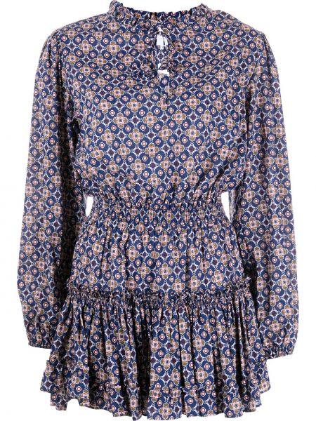 Синее платье мини с завязками из вискозы Misa Los Angeles
