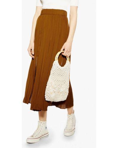 Плиссированная юбка коричневый Topshop