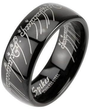 Кольцо с декоративной отделкой черный Spikes
