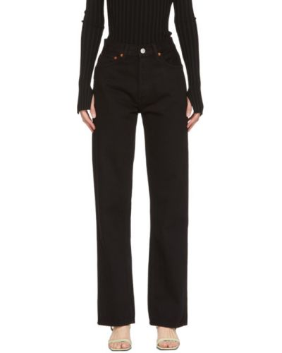 Skórzany czarny jeansy na wysokości z kieszeniami z łatami Re/done
