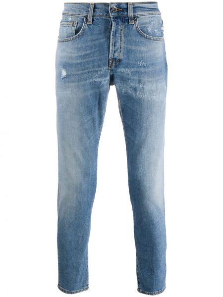 Niebieskie jeansy skorzane z paskiem Prps