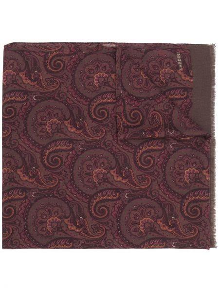Fioletowy szalik wełniany z haftem Lardini