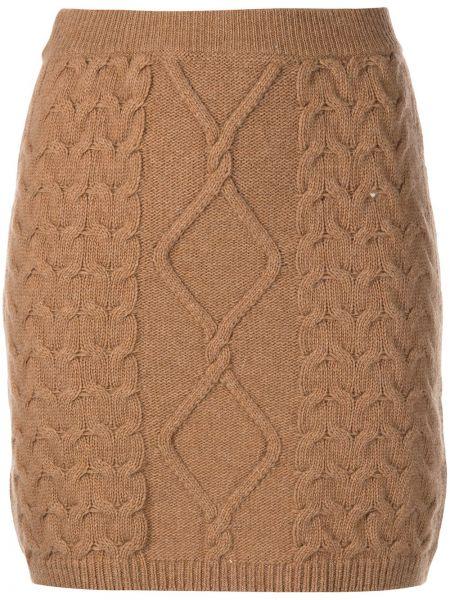 Шерстяная юбка миди - коричневая Nude