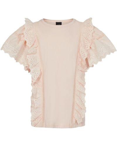 Różowy t-shirt bawełniany z falbanami Sofie Schnoor