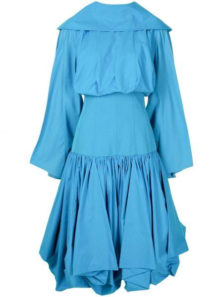 Хлопковое платье миди - синее Loewe