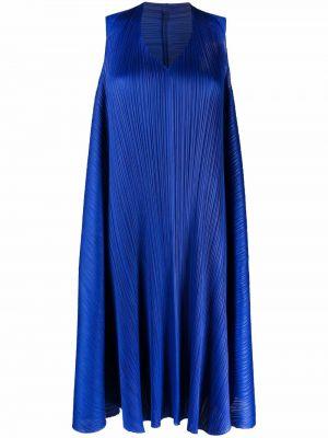 Синее платье однотонное с вырезом Pleats Please Issey Miyake