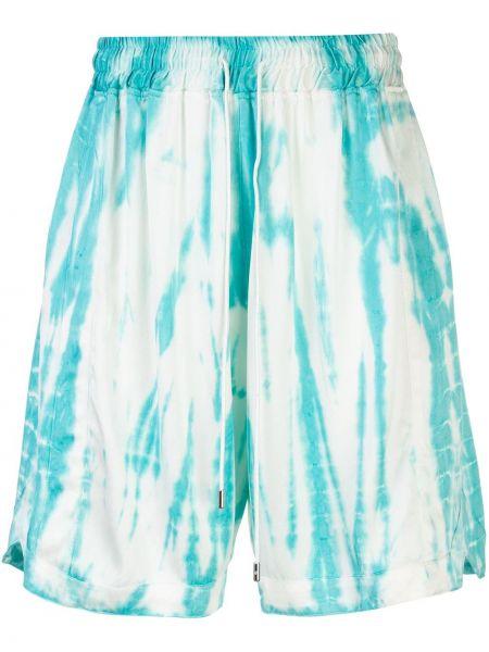 Niebieskie krótkie szorty z jedwabiu z printem Just Don