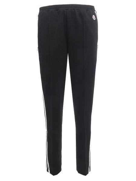 Хлопковые черные спортивные брюки с нашивками с карманами Moncler