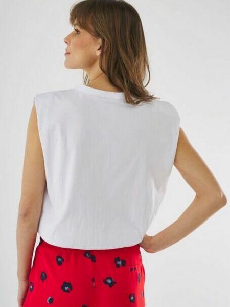 Белая футболка с вырезом без рукавов Mexx