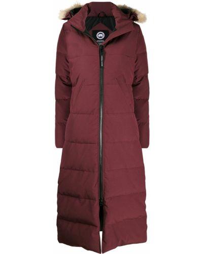 Красное длинное пальто с капюшоном из искусственного меха Canada Goose