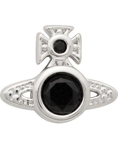 Czarne kolczyki srebrne Vivienne Westwood