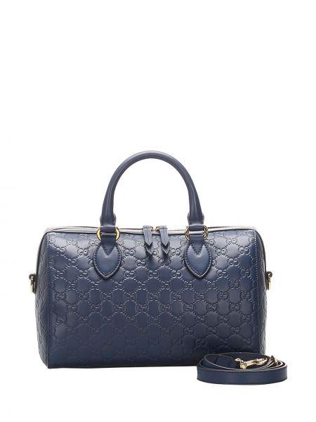 Синяя сумка-тоут металлическая на молнии с карманами Gucci Pre-owned