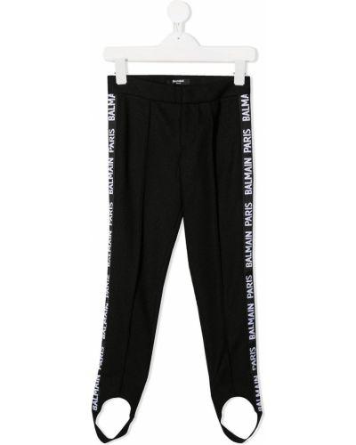 Czarne legginsy bawełniane Balmain Kids