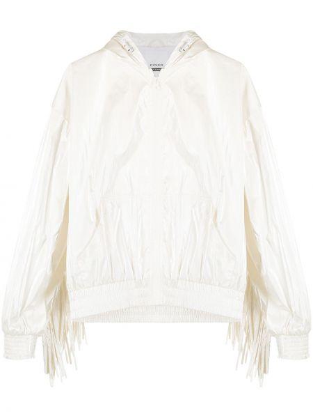 Белая спортивная куртка с капюшоном с бахромой Pinko