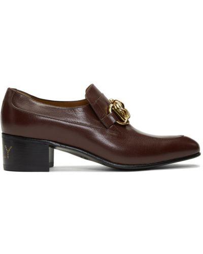 Z paskiem skórzany czarny loafers na pięcie Gucci