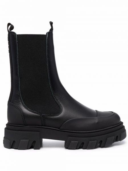 Ботинки челси на толстой подошве - черные Ganni