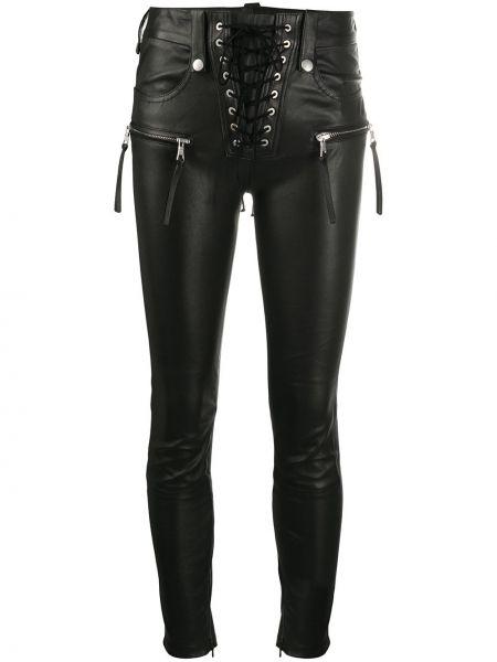 Черные укороченные брюки с карманами с высокой посадкой на молнии Unravel Project