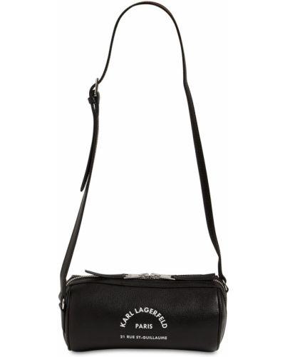 Skórzany z paskiem czarny torba Karl Lagerfeld