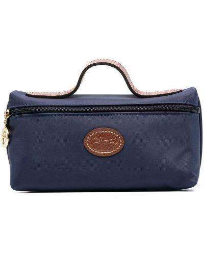 Синяя кожаная косметичка на молнии Longchamp