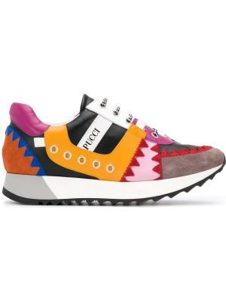Skórzane sneakersy z logo białe Emilio Pucci