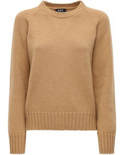 Шерстяной коричневый свитер с воротником с манжетами A.p.c.