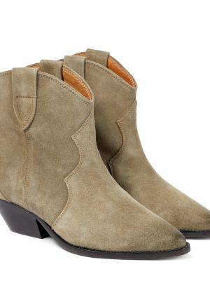 Brązowe ankle boots zamszowe Isabel Marant