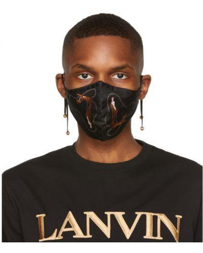 Шелковая белая маска для лица в бусинах Lanvin