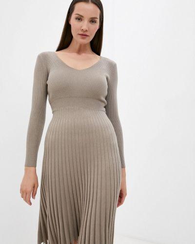 Бежевое платье осеннее Izabella